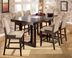 modern counter high dining table medium brown finish modern for