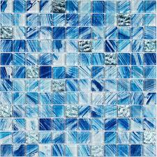 mediterranean blue glass mixed shell mosaic tiles kitchen