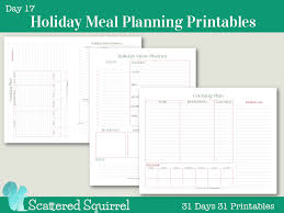 day 17 meal planner printables