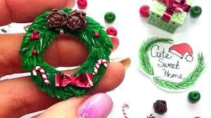 diy miniature christmas wreath polymer clay tutorial youtube
