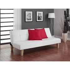 white leather futon sofa dhp aria futon sofa bed white faux leather upholstery walmart com