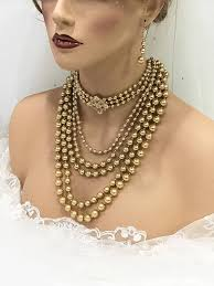 bridal choker necklace images Gold pearl victorian inspired choker necklace earrings bridal set jpg