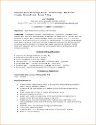 Restaurant Resume Template Sample Resume For Restaurant Example Server Administration Sample