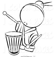 vector coloring page of a black and white human factor drummer