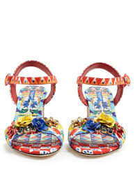 Light Blue Dolce And Gabbana Womens Dolce U0026 Gabbana Majolica Print Brocade Sandals Multicoloured