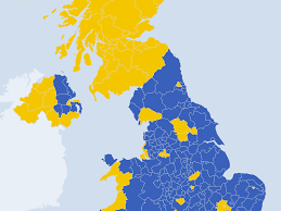 map uk map of united kingdom shows voter divide after eu referendum