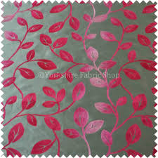 fuchsia colour spirit leafs pattern taffeta faux silk fabric