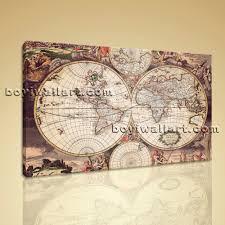 large wall art print on canvas world map retro global atlas home decor