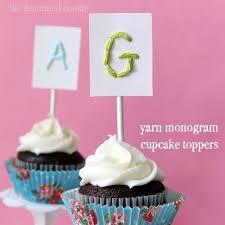 monogram cupcake toppers sewn yarn monogram cupcake toppers