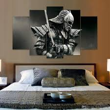 Wall Paintings For Home Decoration 2017 Unframed 5 Panel Samurai Canvas Painting Fashion Home Decor