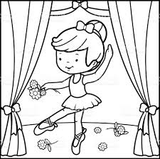 coloring book page ballerina dancing on stage stock vector