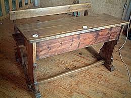 bureaux anciens brocante pupitre ancien bureau d école en chêne et pin antiquites brocante