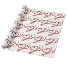 heart wrapping paper stethoscope wrapping paper zazzle