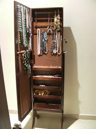 Nifty Mirror by Tall Dark Brown Wooden Mirror Jewelry Box With Drawers And Door On