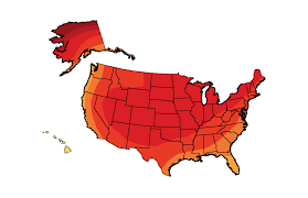 United States Temp Map by Future Climate National Climate Assessment