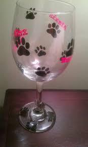 painted wine glass puppy print wine glass dog by myshardsofglass 15 00