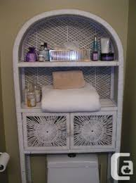 White Space Saver Bathroom Cabinet by White Wicker Bathroom Over Toilet Space Saver Shelf Cabinet