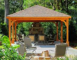 14x14 Outdoor Gazebo by Red Cedar Gable Roof Open Rectangle Pavilions Pavilions By Shape