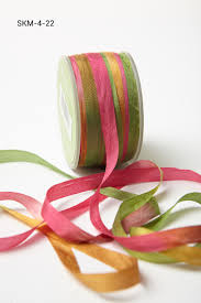 silk ribbon 1 4 inch variegated silk ribbon fuchsia green buy ribbons