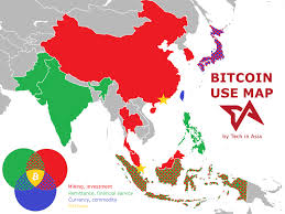 how asia uses bitcoin in one color coded map