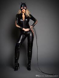 catwoman costumes for halloween catwoman cosplay catsuit women lace up zipper jumpsuit cat