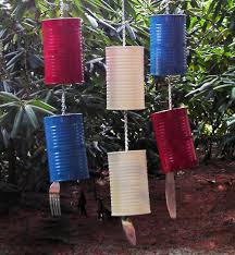 patriotic silverware windchime red white and blue recycled