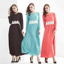 muslim malay suit casual dress long dress lace belt arab women