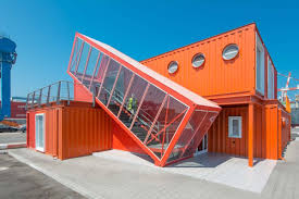 buildings made from shipping containers in angled shipping