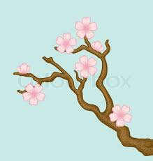 illustration of a blossoming cherry tree branch in a retro style