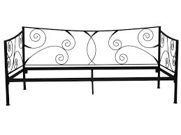 canapé lit fer forgé lit banquette 90x190 cm ellipse 2 coloris noir vente de lit enfant