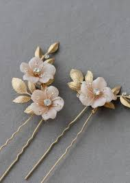 hair pins coco gold blush floral hair pins tania maras bespoke wedding