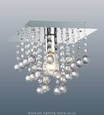 Discount Modern Chandeliers Palazzo Polished Chrome Square Light With Acrylic Droplets 1