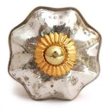 antique silver metallic glass cabinet knob
