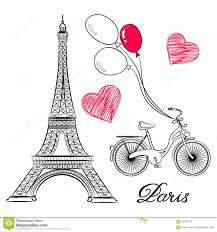 sketch of paris eiffel tower and bike with air balloons stock