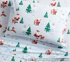 rudolph bumble flannel sheet pottery barn kids