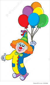 balloons clown flying clown with balloons illustration