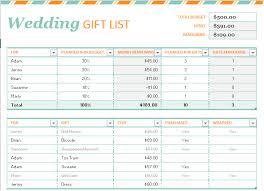 gift list printable wedding gift list template