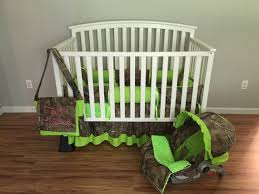 Camouflage Bedding For Cribs 7pc Camo Realtree Fabric Lime Green Crib Bedding Nursery Set