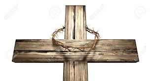 a wooden cross that has a christian woven crown of thorns on