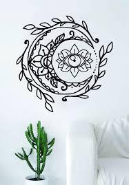 Lotus Flower Wall Decal Om by Moon Eye Wall Decal Sticker Room Art Vinyl Yoga Namaste Lotus