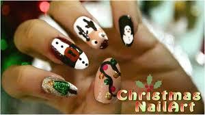 Christmas Light Nails by Easy Christmas Nailart Designs Video Santa Reindeer Snowman