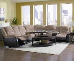 Sectional Or Two Sofas Espresso Two Tone Modern Reclining Sectional Sofa