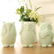 light green white handmade ceramic owl ornaments porcelain owl
