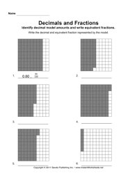 decimal fraction models u2014 instant worksheets