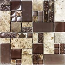 Sample Brown Pattern Imperial Marble Stone Glass Mosaic Tile - Stone glass mosaic tile backsplash