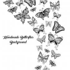black and white butterflies background vector free