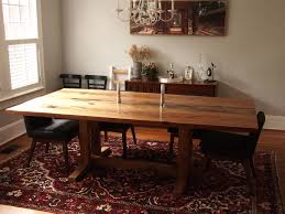 dining room cozy brown wood trestle dining table and buffet