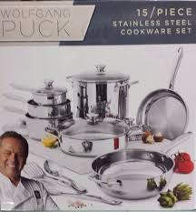 wolfgang puck 15 piece stainless steel cookware set brand new