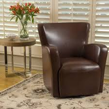 Leather Club Chair Swivel Angelo Bonded Leather Wingback Swivel Club Chair By Christopher