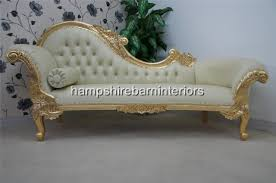 chaise lounge sofas ornate chaise longue large gold cream faux leather lounge sofa